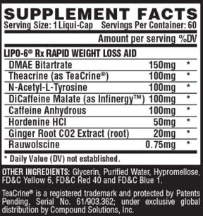 Nutrex LIPO 6Rx ingredients