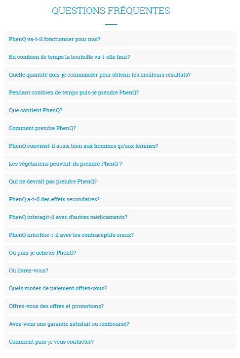 Phenq faq French